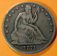 1871 SEATED LIBERTY SILVER HALF DOLLAR 50C VG