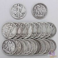 WALKING LIBERTY HALF DOLLAR ROLL 90 SILVER $10 FACE 1930'S 1940'S US 20 COINS