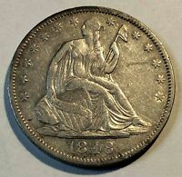 1848 O SEATED HALF DOLLAR XF TO AU SHARP NICE