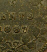 1887 FIVE CENT 5C SILVER DOUBLE 7  CANADA  NICE