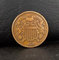 1868 2C USA TWO-CENT BRONZE COIN  SHIPS FREE