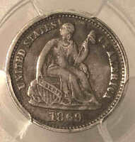 1869 S SEATED HALF DIME  DATE XF DETAIL PCGS SHARP NICE