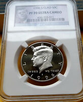 1996 S NGC PF70 ULTRA CAMEO CLAD KENNEDY HALF DOLLAR .50C  BRIGHT WHITE & CLEAN