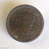 1848 USA 1C YOUNG HEAD LARGE CENT COPPER COIN