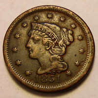 1851 LARGE CENT SHARP NICE