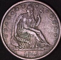 1843 O SEATED LIBERTY HALFS UNC DETAILS NET AU OBVERSE SCRATCH