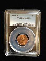 1953-D 1C LINCOLN CENT PCGS MINT STATE 65RD