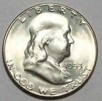 1953 S FRANKLIN HALF DOLLAR FROSTY WHITE BU  FREE U.S.SHIPPING 33 A 29