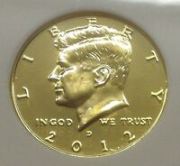 2012 P & D KENNEDY HALF DOLLAR 24KT GOLD ENRICHED UNCIRCULATED