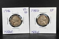 1946 & 1948D LOT OF 2 5C JEFFERSON NICKEL COINS