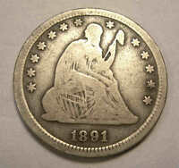 1891 SEATED QUARTER LAST YEAR NICE