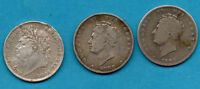 3 X SILVER SHILLINGS. KING GEORGE IV 1824 1825 & 1826 SHILLING COIN.