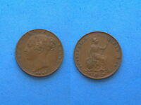 GREAT BRITAIN 1843 FARTHING COPPER COIN YOUNG QUEEN VICTORIA 22 MM