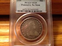 1806 DRAPED BUST HALF DOLLAR --PCGS VF25 -POINTED 6, NO STEM -- GREAT EXAMPLE