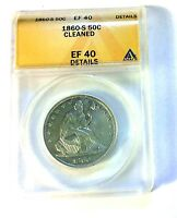 1860 S SEATED HALF DOLLAR XF ANACS SHARP NICE