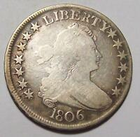 1806  BUST HALF DOLLAR     SHARP VG    EARLY U.S. TYPE COINAGE