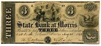 $3 STATE BANK AT MORRIS MORRISTOWN NJ   1849   NEW JERSEY OBSOLETE CURRENCY