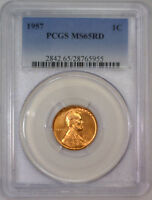 1957 LINCOLN WHEAT CENT WHEATBACK BU PENNY   PCGS MS65 RD MS 65 RED