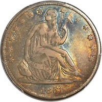 1861 S 50C LIBERTY SEATED HALF DOLLAR PCGS VF30