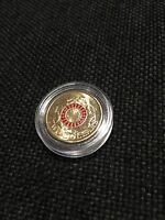 AUSTRALIA 2015 $2 TWO DOLLAR UNC RED ANZAC COIN IN CAPSULE