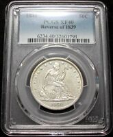 1840 REVERSE OF 1839 PCGS XF40 SEATED LIBERTY HALF   NEARLY WHITE / CLEAN