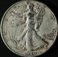 1940-S WALKING LIBERTY 90 SILVER HALF SHIPS FREE. BUY 3 FOR XTRA AG C2