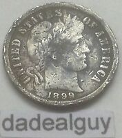 1899 BARBER SILVER DIME  FAST FREE BUBBLE PADDED SHIPPING  U.S. COIN  90