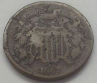 1867 TWO CENT PIECE  OLD TYPE U.S. COIN - FAST FREE BUBBLE PADDED SHIPPING