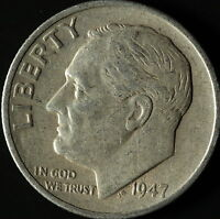 1947 S ROOSEVELT 90 SILVER DIME SHIPS FREE. BUY 3 FOR XTRA AG C2