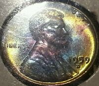 1959 D LINCOLN CENT TONED