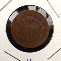 1865  TWO-CENT BRONZE COIN 2C PLAIN 5 SHIPS FREE