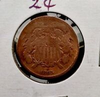 1865  TWO-CENT BRONZE COIN 2C FANCY 5 SHIPS FREE