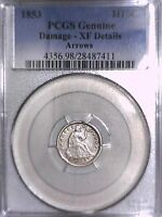 1853 SEATED LIBERTY HALF DIME PCGS GENUINE DAMAGE   XF DETAILS ARROWS 28487411