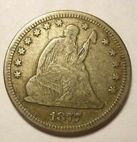 1877  SEATED QUARTER SHARP NICE