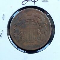 1865  TWO-CENT PIECE BRONZE COIN 2C FANCY 5 SHIPS FREE