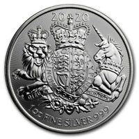 2020 GREAT BRITAIN THE ROYAL ARMS   1 OZ. 999 PURE SILVER COIN   BU   IN STOCK