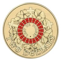 2015 RED ANZAC DAY COIN $2 TWO DOLLAR AUSTRALIAN
