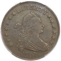 1807 50C DRAPED BUST HALF DOLLAR O-105 PCGS GENUINE CLEANING EXTRA FINE  DETAILS