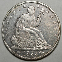 1855/4 SEATED HALF DOLLAR .900 SILVER KM 82 ABOUT UNCIRCULATED FREE USA SHIP