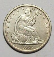 1866 S W/ MOTTO  SEATED LIBERTY HALF DOLLAR OLD CLEANING AU FREE U.S. SHIP 13B6