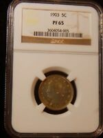 1903 PROOF LIBERTY V NICKEL GREAT PRF TYPE COIN NGC PR65 ..RCM286