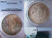 UNITED  STATES  OF AMERICA G10 ONE SILVER DOLLAR  1883 O PCGS MS 64 RAINBOW