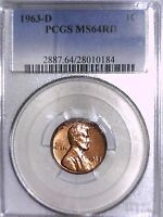 1963 D LINCOLN MEMORIAL CENT PCGS MS 64 RD 28010184