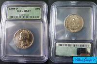 1968 D WASHINGTON QUARTER CERTIFIED MS 67 BY ICG SHARP NICE SURFACES LUSTROUS