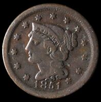 1851 BRAIDED HAIR LARGE CENT 1C NICE EARLY TYPE COIN KEY DATE  $