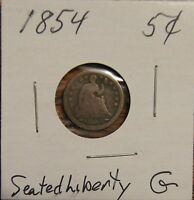 1854 SEATED LIBERTY HALF DIME 5C OVER 155 YEARS OLD   GOOD