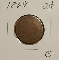 1868 2 CENT PIECE-OVER 145 YRS OLD-GOOD