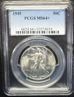 1945 WALKING LIBERTY HALF DOLLAR PCGS MS 64