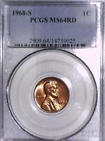 1968 S LINCOLN MEMORIAL CENT PCGS MS 64 RD 14739025