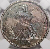 1846 O SEATED HALF DOLLAR MEDIUM DATE NGC MS 62 TONED